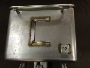 Stainless steel bins with identification card holders